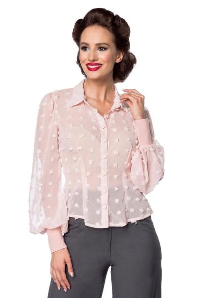 Rosa kurze Vintage-Bluse mit langen Ärmeln und Umlegekragen transparenter Netzstoff Knopfleiste