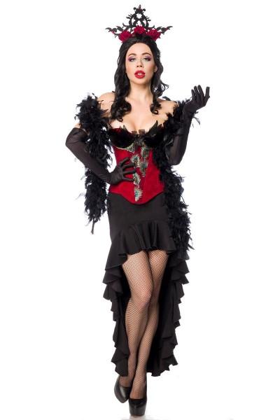 Burlesque Verkleidung Outfit Corsage in rot mit Volant-Rock und Federboa sowie Schnürung Handschuhe