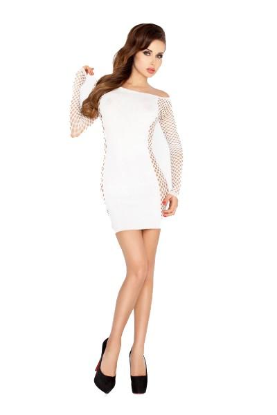 Weißes Dessous Netzkleid Damen Minikleid Abendkleid halbtransparent dehnbar Größe S/M