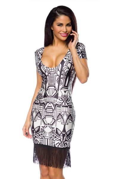 Schwarz weißes Charleston Kleid mit Fransen und kurzen Ärmeln tiefer Ausschnitt vorn und hinten