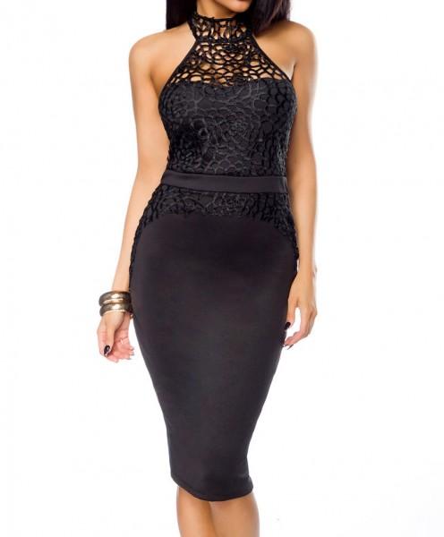 Damen Neckholder Pencil Kleid mit Effektstoff Abendkleid rückenfrei Onesize S/M