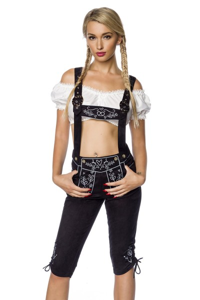Damen Trachtenkniebundhose mit Hosenträgern und Stickereien Velourlsederoptik Bayrische Latzkniebund