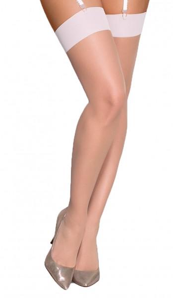 Stockings in beige haut halterlose Strümpfe für Strapshalter transparent elastisch mit Bündchen