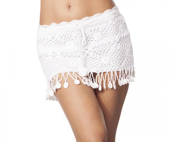 Damen Strandrock Häkelrock mit Gummibund und Fransen in weiß Minirock OneSize XS-L