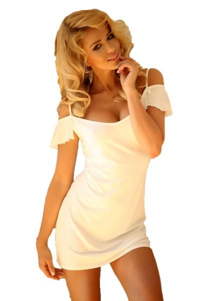 Damen Dessous Nachtkleid in ecru weiß Mini-Kleid blickdicht dehnbar Sommerkleid