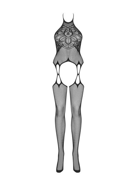 Strick Damen Dessous Neckholder Bodystocking Strapshemd Optik in schwarz mit Strümpfen und Riemchen
