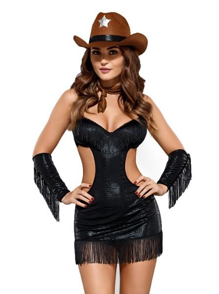 Damen Dessous Set Verkleidung Sheriff Kleid, Halstuch, Armstulpen Hut und String in schwarz Kostüm