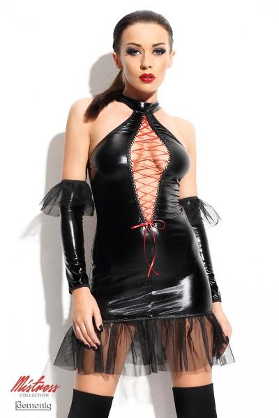 Schwarzes Dessous wetlook Minikleid mit Tüll und Schnürung Neckholder Mini-Kleid mit T-String