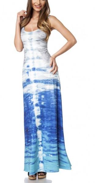 Maxikleid luftig Damen Sommerkleid in bunt mit Muster Wasser-Design breite Träger lang Kleid