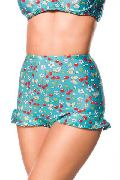 Elastischer Damen Bikiniunterteil Höschen Rüschen Beinausschnitt und Kirschen Blüten Bienen Muster g