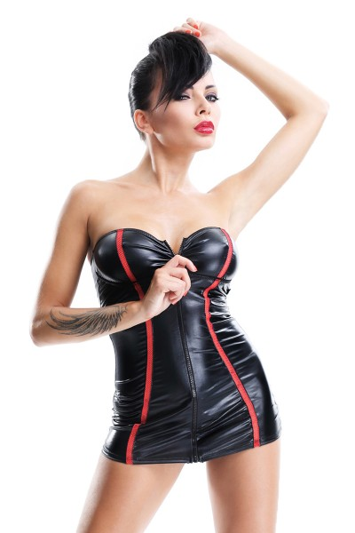 Schwarzes Damen Dessous bandeau Minikleid aus wetlook Material dehnbar mit Reißverschluss