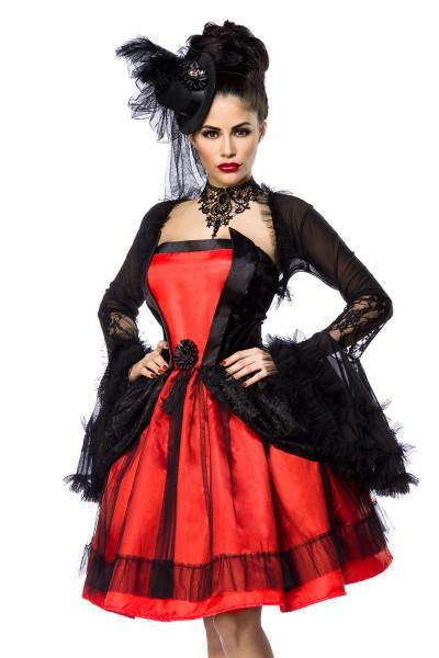 Schwarz rotes Damen Vampier Kostüm aus Kleid Bolero und Hut mit Schößchen und Spitze