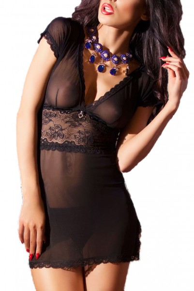 Erotisches Damen Dessous Babydoll Minikleid Nachtkleid in schwarz aus floraler Spitze Chemise inkl S