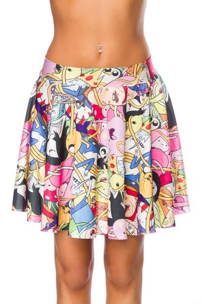 Bunter Damen Sommerrock mit Muster mit Gummizug und Raffung OneSize XS/S