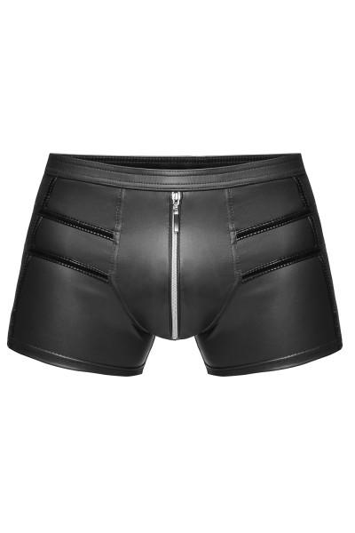 Schwarzer Herren wetlook Short elastisch dehnbar mit Reißverschluss erotische Unterwäsche