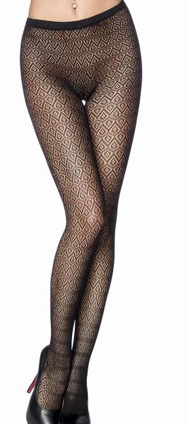 Schwarze Strumpfhose mit ausgefallenem Muster transparent Netzstrumpfhose