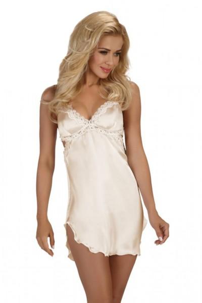 Erotisches Chemise Negligee in weiß mit String Tanga Dessous Kleid Nachtkleid mit Spitze Nachtkleid