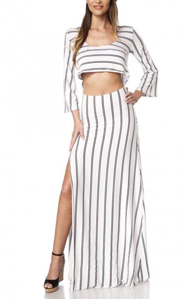 Variables Maxikleid luftig Damen Sommerkleid bauchfrei in weiß schwarz mit Streifen Rundhals-Ausschn