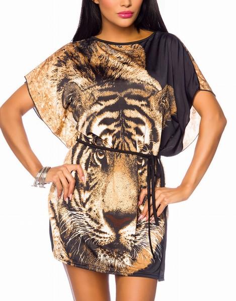 Damen Tunika mit Leopardenkopf weit geschnitten mit angeschnittenen Ärmeln bunt