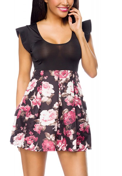 Damen Sommerkleid mit Blumen und kurzen Ärmeln hoher ausgestellter Rockteil
