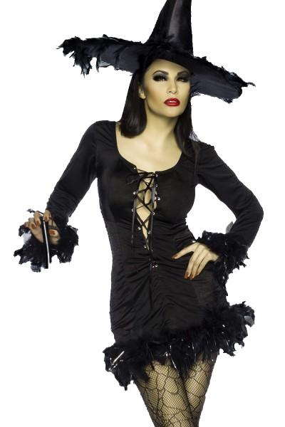 Schwarze Damen Hexenkleid mit Frontschnürung inklusive Hut Fasching Verkleidung