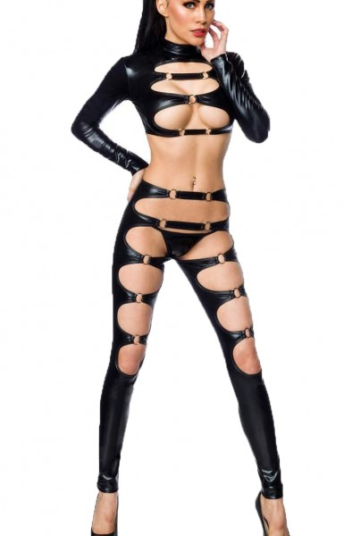 Erotisches Damen Bänderoutfit aus Jacke, String und Stockings in wetlook schwarz Dessous Set elastis