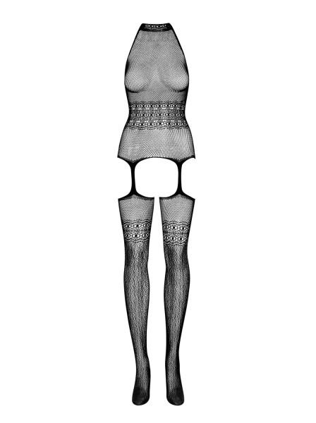 Damen Dessous Bodystocking elastisch transparent ouvert aus Top und Strapsstrümpfen OneSize S-L