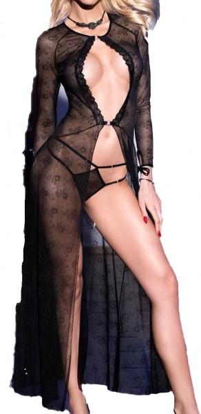 Lange Dessous Robe Morgenmantel und String in schwarz aus Netz und Spitze langarm