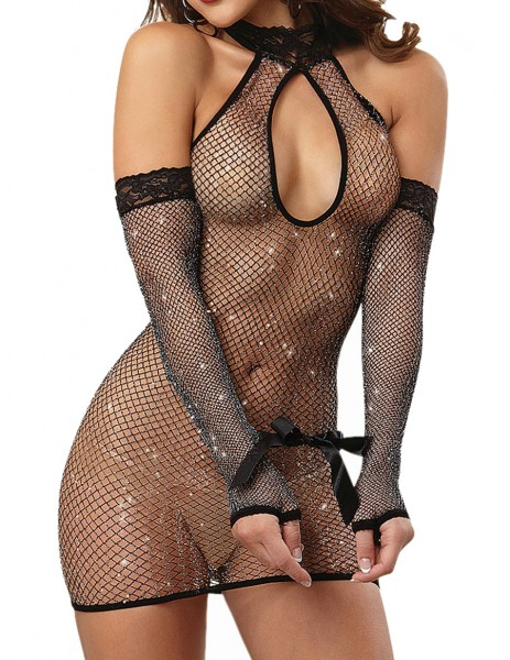 Dessous Nachtkleid Babydoll Negligee in schwarz Netzmaterial inkl Handschuhe und Fesseln OneSize S/M