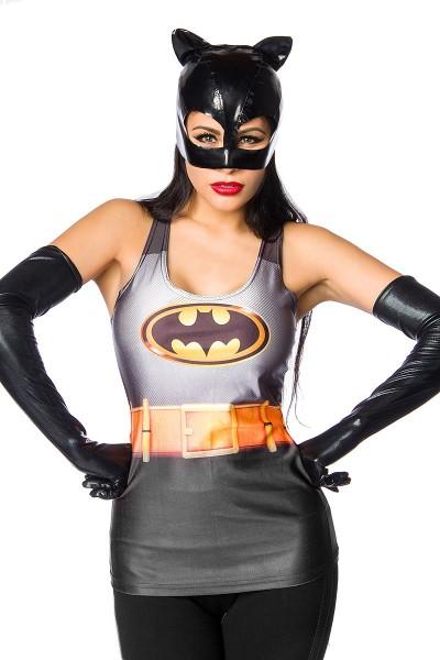 Graues Damen Superhelden Top mit Fledermaus Print Fotoprint Faschingsverkleidung Outfit