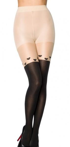 Transparente schwarze Damen Strumpfhose im Overknee Design und Herzchen Muster und elastischem Bund