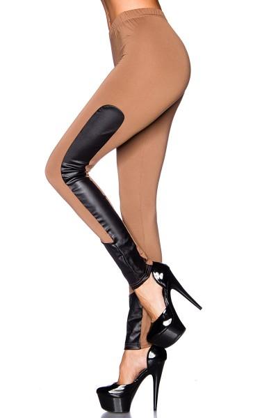 Schwarze Leggings mit schwarzen Wetlookeinsätzen an der Seite glänzend eng dehnbar