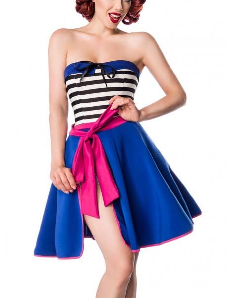 Blauer schmaler Wickelrock pinker Rand mit angesetztem Bund und variabler Bindung hinten knielang Ro