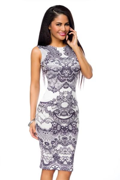 Schwarz weißes Damen Baumwoll Sommerkleid mit Spitzenmuster knielang Etuikleid