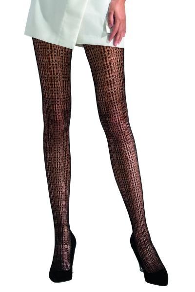 Damen Netz-Strumpfhose mit Muster schwarz transparent
