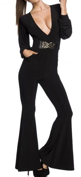 Schwarzer langer enger Overall mit Eingriffstaschen und tiefem Ausschnitt Schlaghose hinten hochgesc