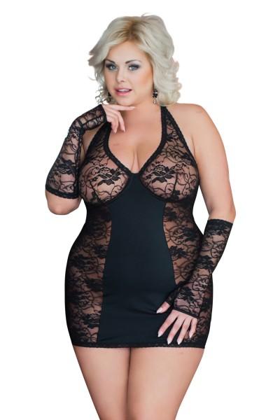 Damen Dessous Plus Size Chemise transparent mit Bügel-BH und Stulpen in schwarz kurz