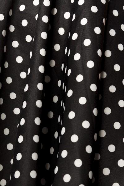 Schwarz weiß gepunktetes Retrokleid mit Rundhalsausschnitt und Teilungsnaht asymmetrischem Saum Rock