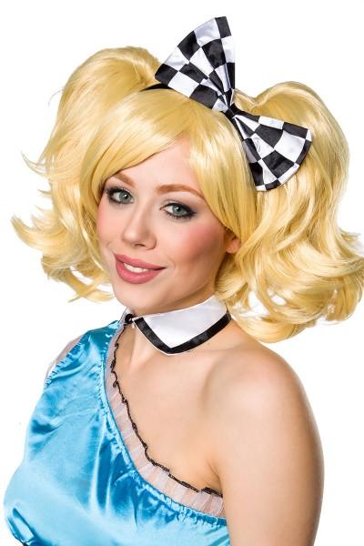 Blonde Damen Langhaar Perücke Wig mit Pony schulterlang Alice Perücke mit Zopfklammern