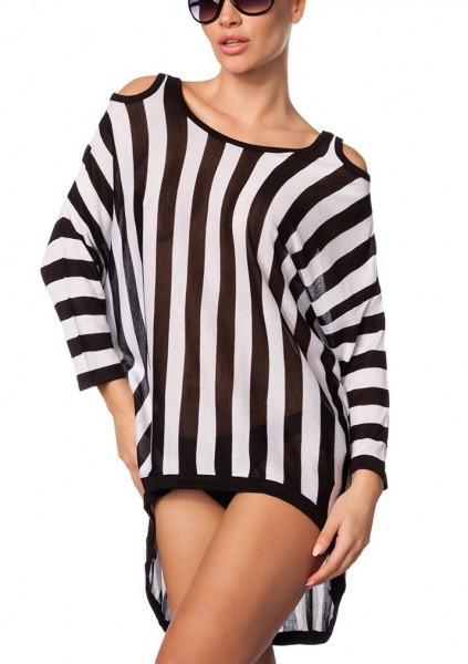Schwarz weiß gestreiftes schulterfreies Damen Langarmshirt gestrickt und langen Ärmeln