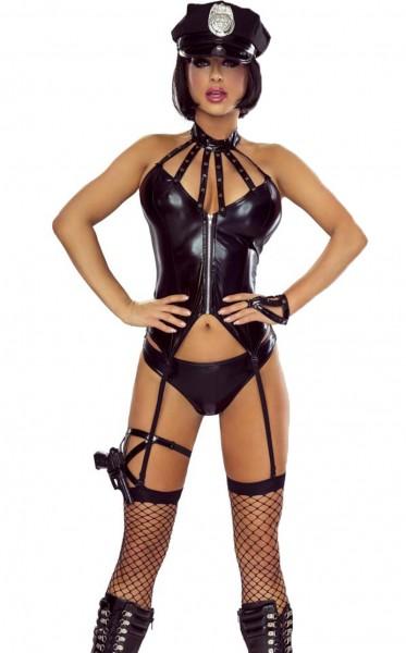 6-teiliges Frauen Dessous Kostüm Polizei Outfit Reizwäsche Set Police Agent Officer