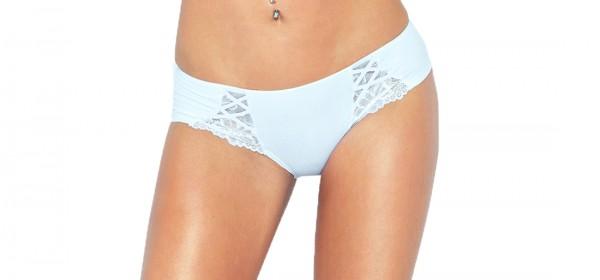Erotischer Damen Dessous Shorty Sexy Panty Slip in weiß mit Spitze blickdicht