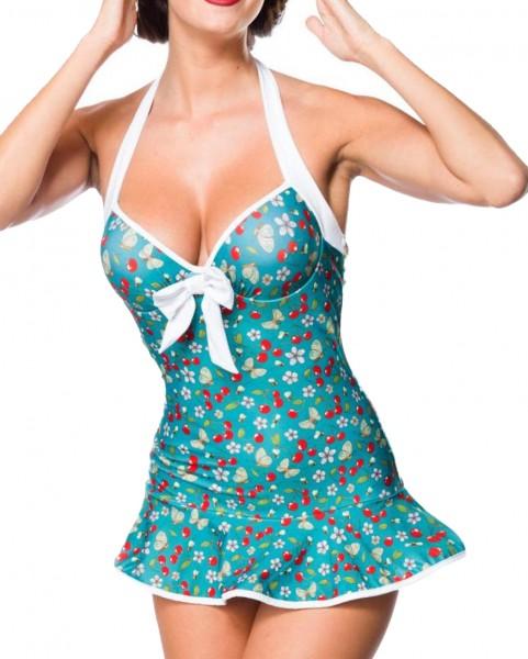 Elastischer Damen Badeanzug Neckholder Swimsuit mit Schleife und Kirschen Blüten Bienen Muster grün