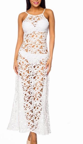 Weißes langes Rückenfreies Häkelkleid mit Blumenmuster teiltransparent leicht ausgestellt