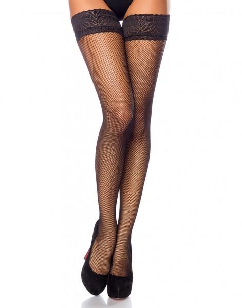 Damen Dessous Netz Stockinga halterlos transparent Strumpfe mit Verzierung Onesize S/L