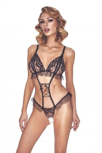 Damen Dessous Body ouvert schwarz aus Tüll und Bänder transparent knapp