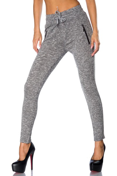 Graue Damen Jogginghose sportlich mit weichem Bündchenund Reißverschlüssen aus Baumwolle