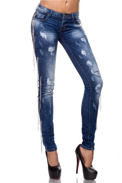 Blaue Damen Jeans mit aufgesetzten Ketten und Rissen Five-Pocket-Style schmaler Schnitt