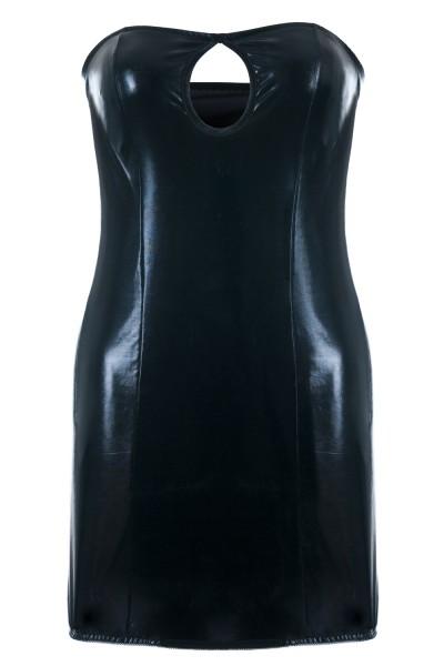 Schwarzes Wetlook Chemise mit Öffnung zwischen der Brust Damen Negligee XXL Plus Size