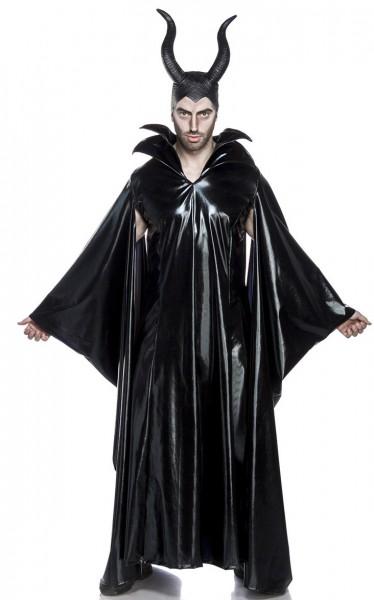 Herren schwarzer Teufel Anzug Kostüm Verkleidung mit Cape und Hörnern aus Wetlook Umhang Hängeärmel